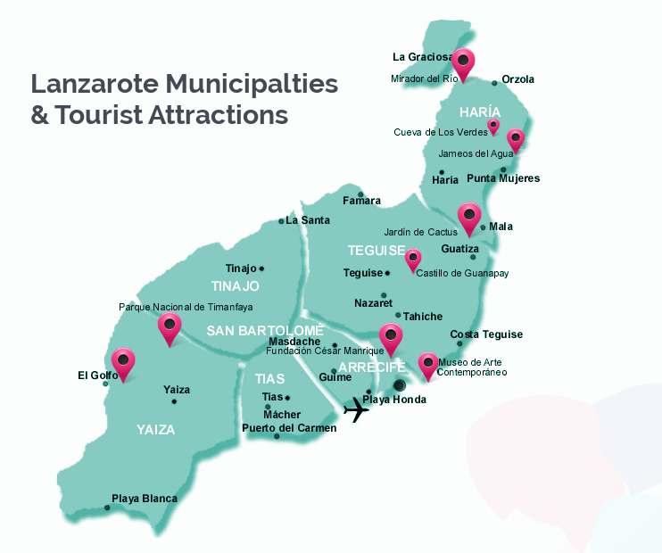 Lanzarote Municipalities And Tourist Attractions Map